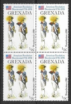 Grenada 1976  American Revolution SG 785 Fine Mint Block of 4