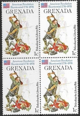 Grenada 1976  American Revolution SG 786 Fine Mint Block of 4