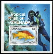 Grenada 1984 Coral Reef Fishes Miniature Sheet Fine Mint