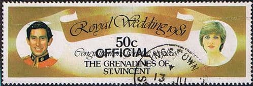 Grenadines of St Vincent 1982 Official Overprint SG O2 Charles and Diana Fine Used