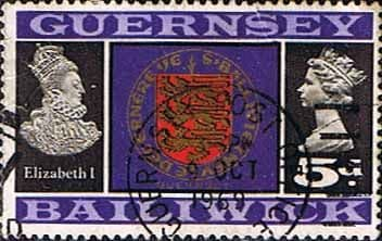 Postage Stamps Stamp Guernsey 1969 SG 19 Queen Elizabeth II and Coat of Arms Fine Used SG 19 Scott 14