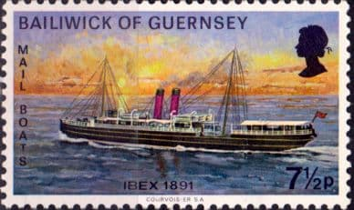 Guernsey 1972 Mail Packet Boats SG 69 Ibex Fine Mint