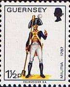Guernsey 1974 Military Uniforms SG100 Officer, Gunner Artillery Fine Mint