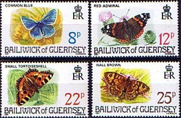 Postage Stamps Postage Stamps Guernsey 1981 Butterflies Set Fine Mint