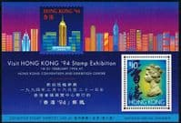 Hong Kong 1994 Stamp Exhibition Miniature Sheet Fine Mint