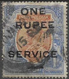 India 1925 O H M S Surcharged  SG O102 Used