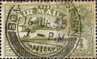 India 1929 King George V Air Mail SG 222 Fine Used
