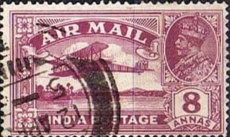 India 1929 King George V Air Mail SG 224 Fine Used
