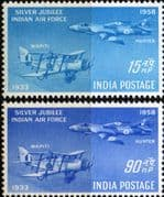 India 1958 Silver Jubilee of Indian Air Force Set Fine Mint