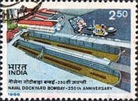India 1986 250th Anniv of Naval Dockyard, Bombay Fine Used