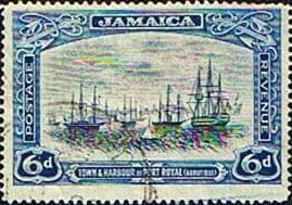 Jamaica 1921 SG  98a Town and Port Royal Harbour 1850 Fine Used