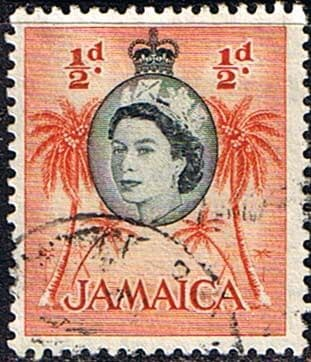 Jamaica 1956 SG 159 Queen Elizabeth and Coconut Palms Fine Used