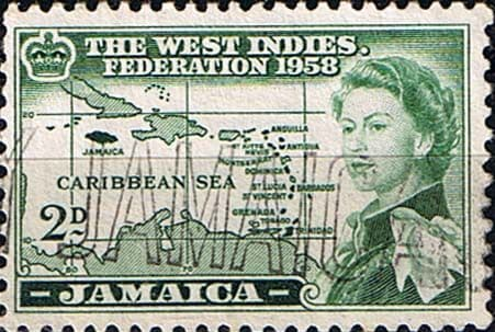 Jamaica 1958 West Indies Federation Queen Elizabeth and Map SG 175 Fine Used