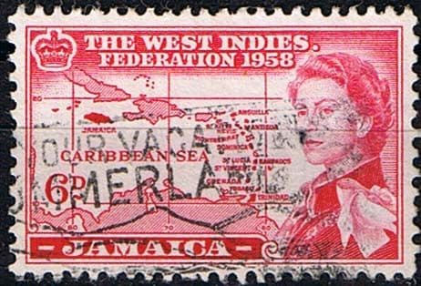 Jamaica 1958 West Indies Federation Queen Elizabeth and Map SG 177 Fine Used