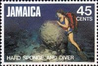 Jamaica 1982  Marine Life SG 542 Hard Sponge and Diver Fine Used