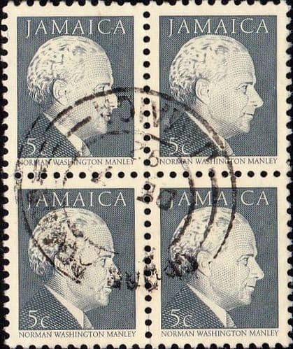 Jamaica 1987 Portraits Norman Manley SG 676A Block of 4  Fine Used