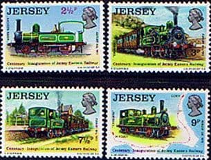 Postage Stamps Stamps Jersey 1973 Eastern Railway Trains Set Fine Mint