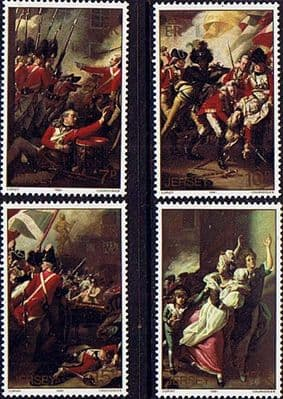 Postage Stamps Jersey 1981 Battle of Jersey Painting Fine Mint SG 244/7 Scott 242/5