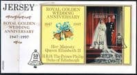 Jersey 1997 Jersey Royal Golden Wedding Miniature Sheet on First Day Cover