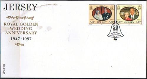 Jersey 1997 Jersey Royal Golden Wedding Set on First Day Cover