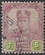 Malay State of Johore 1918 SG 92 Sultan Sir Ibrahim Fine Used