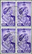Malay State of Johore 1948 SG 131 Royal Silver Wedding Fine Used Block of 4