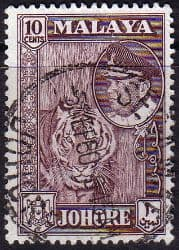 Malay State of Johore 1960 Sultan Ismail SG 160 Tiger Fine Used