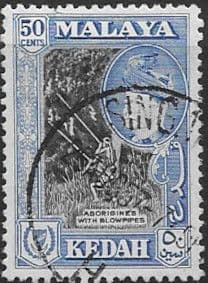 Malay State of Kedah 1957 SG 99 Aborigines with Blowpipes Fine Used