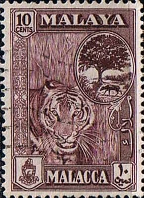 Malay State of Malacca 1960 SG 55 Tiger Fine Used