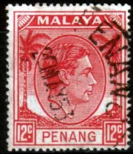 Malay State of Penang 1949 SG 12 King George VI Head Fine Used