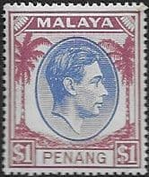 Malay State of Penang 1949 SG 20 King George VI Head Fine Mint