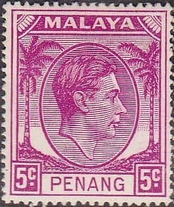 Malay State of Penang 1949 SG 7 King George VI Head Fine Mint