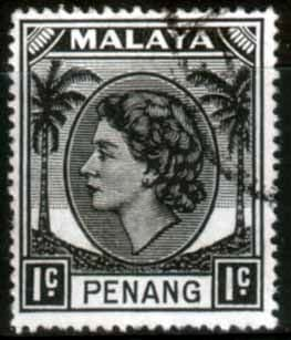 Malay State of Penang 1954 SG 28 Queen Elizabeth II Head Fine Used