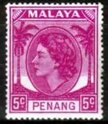 Malay State of Penang 1954 SG 31 Queen Elizabeth II Head Fine Mint