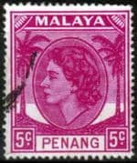 Malay State of Penang 1954 SG 31 Queen Elizabeth II Head Fine Used