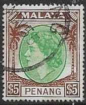 Malay State of Penang 1954 SG 43 Queen Elizabeth II Head Fine Used