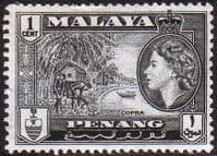 Malay State of Penang 1957 SG 44 Queen Elizabeth and Copra Fine Mint