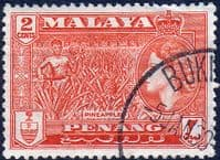 Malay State of Penang 1957 SG 45 Queen Elizabeth and Pineapples Fine Used