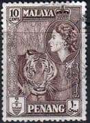 Malay State of Penang 1957 SG 49 Queen Elizabeth and Tiger Fine Used
