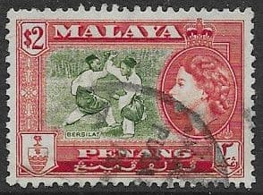 Malay State of Penang 1957 SG 53 Queen Elizabeth and Bersilat Good Used