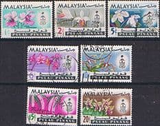 Malay State of Penang 1965 Orchids Set Fine Used