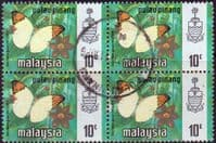 Malay State of Penang 1971 Butterflies SG 79 Fine Used Block of 4