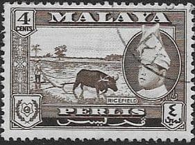 Malay State of Perlis 1957  SG 31 Rice Field Fine Used