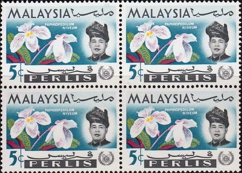 Malay State of Perlis 1965 Flowers Orchids SG43 Fine Mint Block of 4