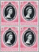 Malaya Kelantan Queen Elizabeth II 1953 Coronation Fine Mint Block of 4