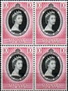 Malaya Perak Queen Elizabeth II 1953 Coronation Fine Mint Block of 4
