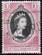 Malaya Singapore Queen Elizabeth II 1953 Coronation Fine Used