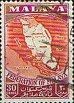 Malayan Federation 1957 SG 4a Map of the Federation Fine Used