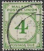 Malayan Postal Union 1936 SG D2 Post Due Fine Used