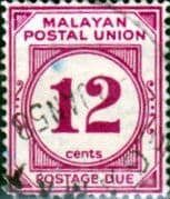 Malayan Postal Union 1951 SG D20 Post Due Fine Used